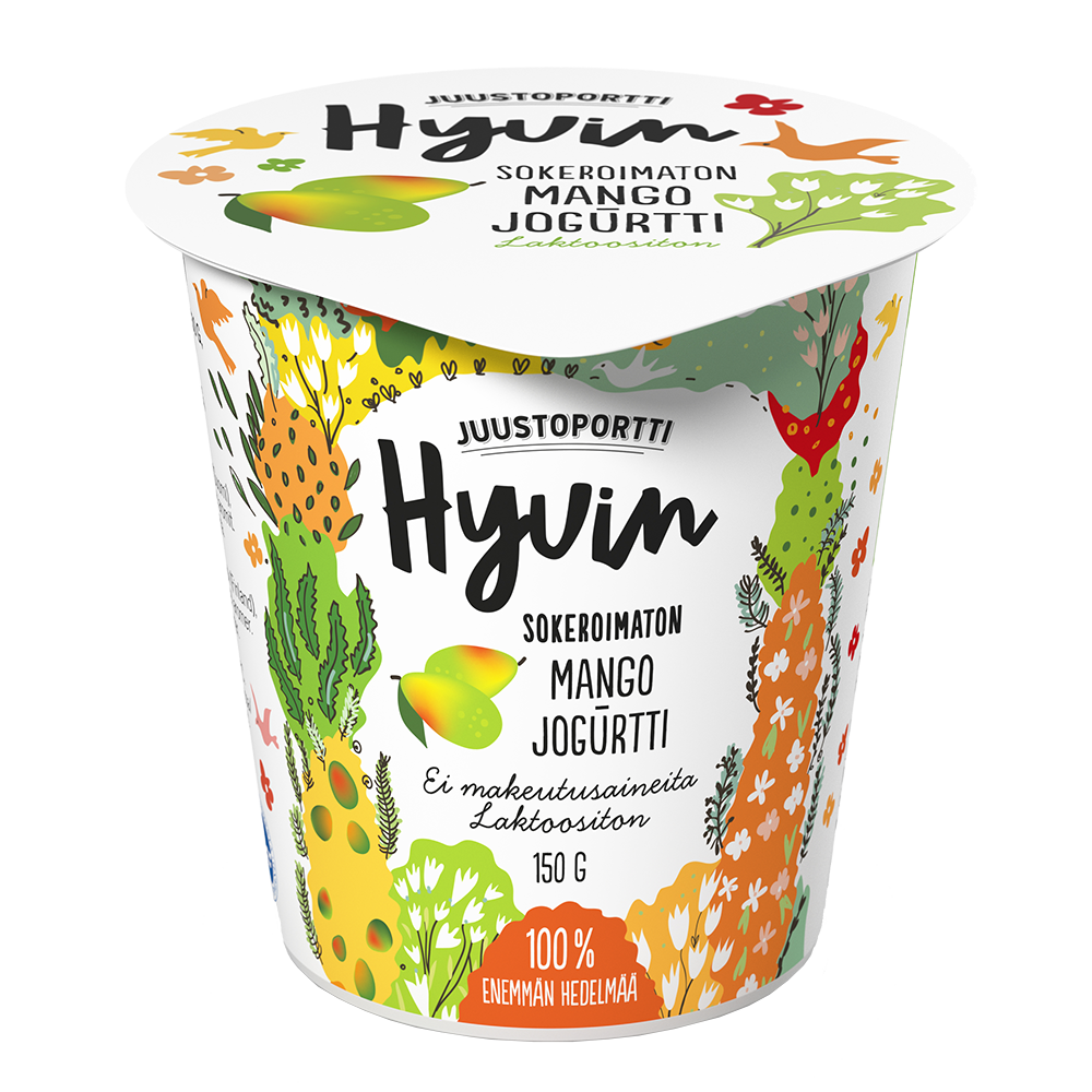 Juustoportti Hyvin sokeroimaton jogurtti 150 g mango laktoositon