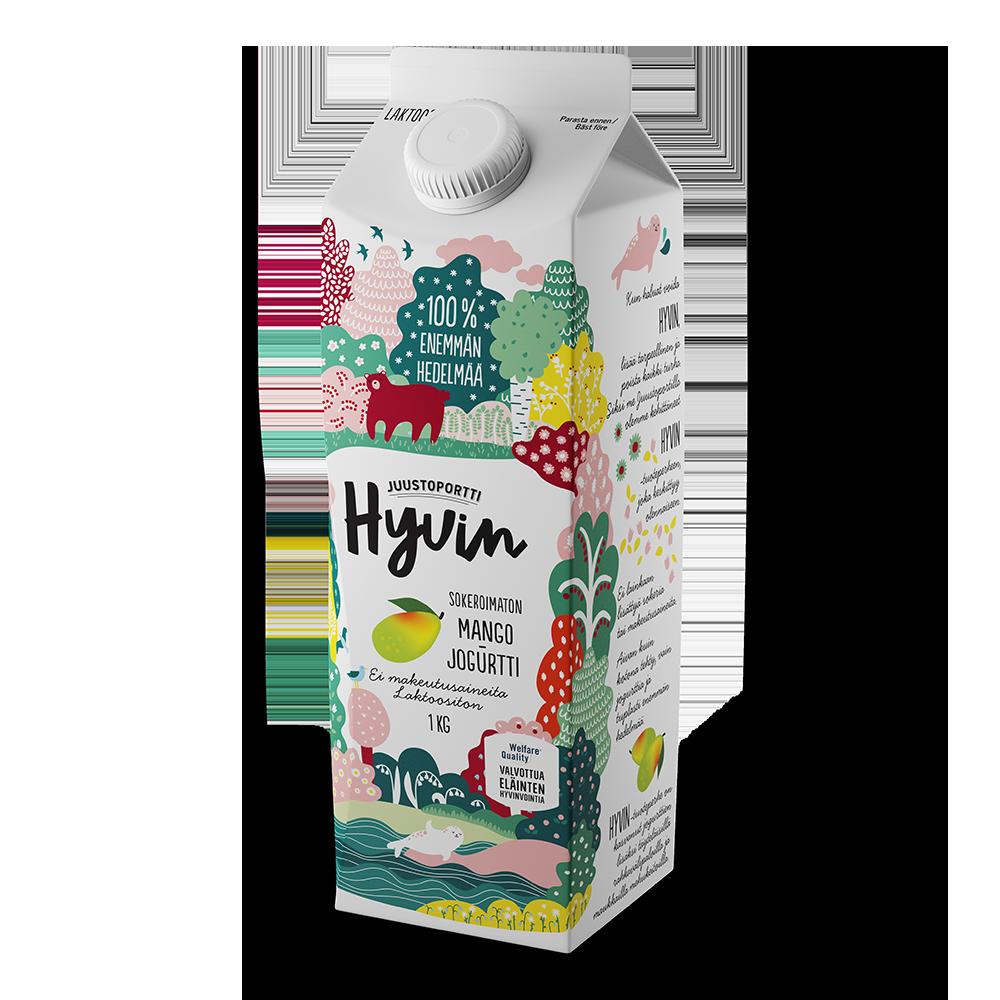 Juustoportti Hyvin sokeroimaton jogurtti 1 kg mango laktoositon