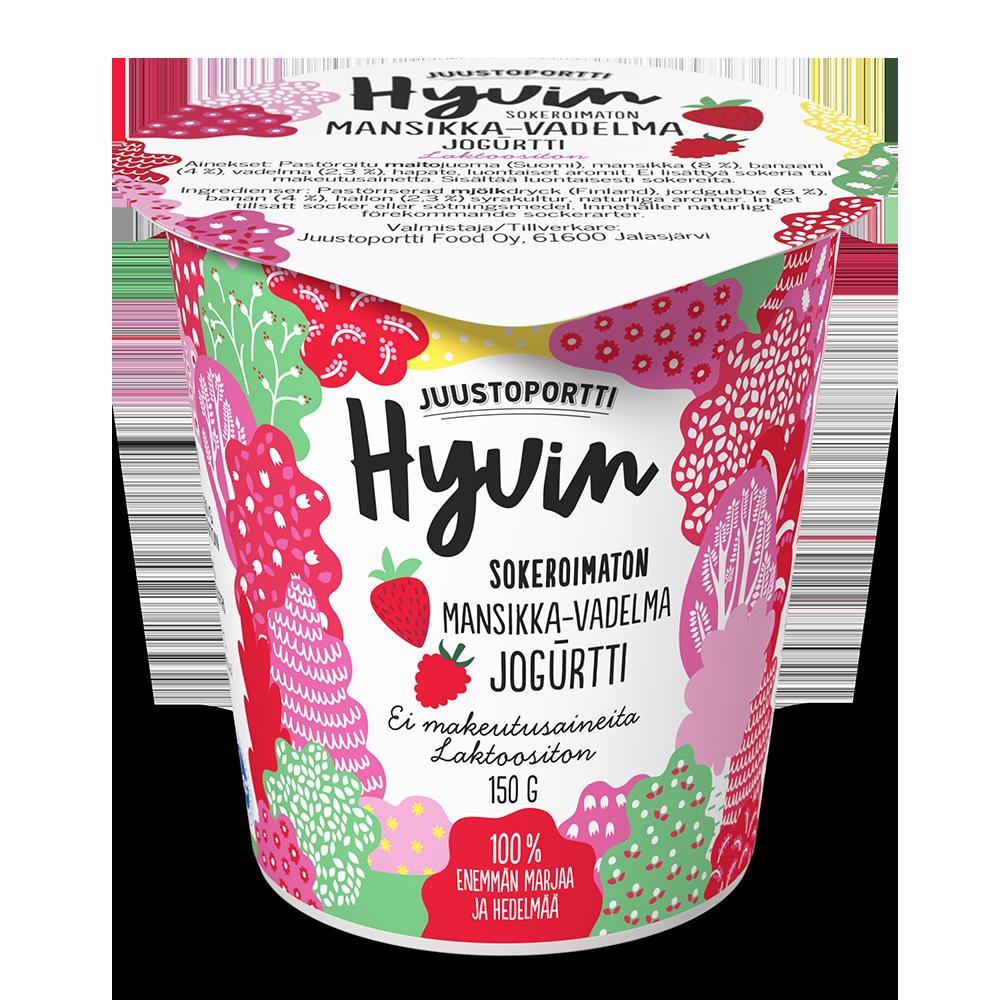 Juustoportti Hyvin sokeroimaton jogurtti 150 g mansikka-vadelma laktoositon