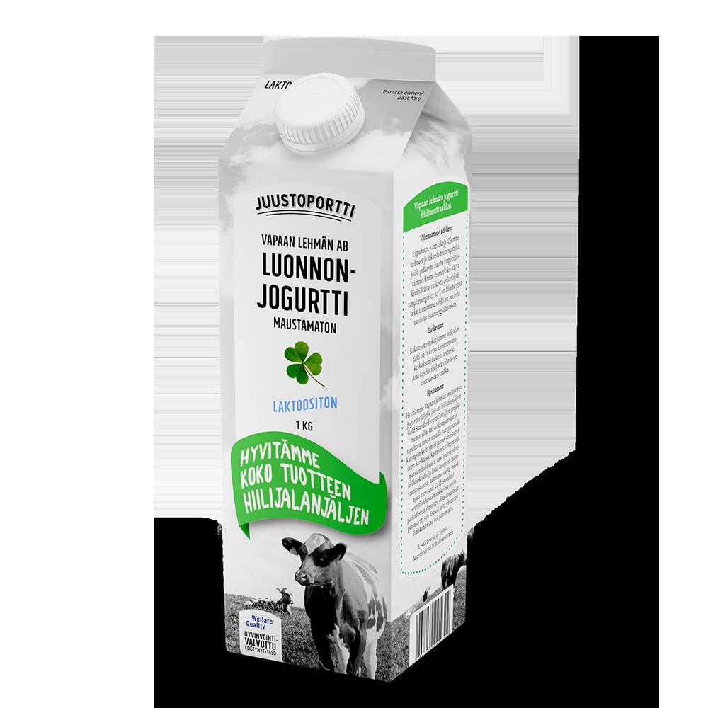 Juustoportti Vapaan lehmän AB-luonnonjogurtti 1 kg laktoositon