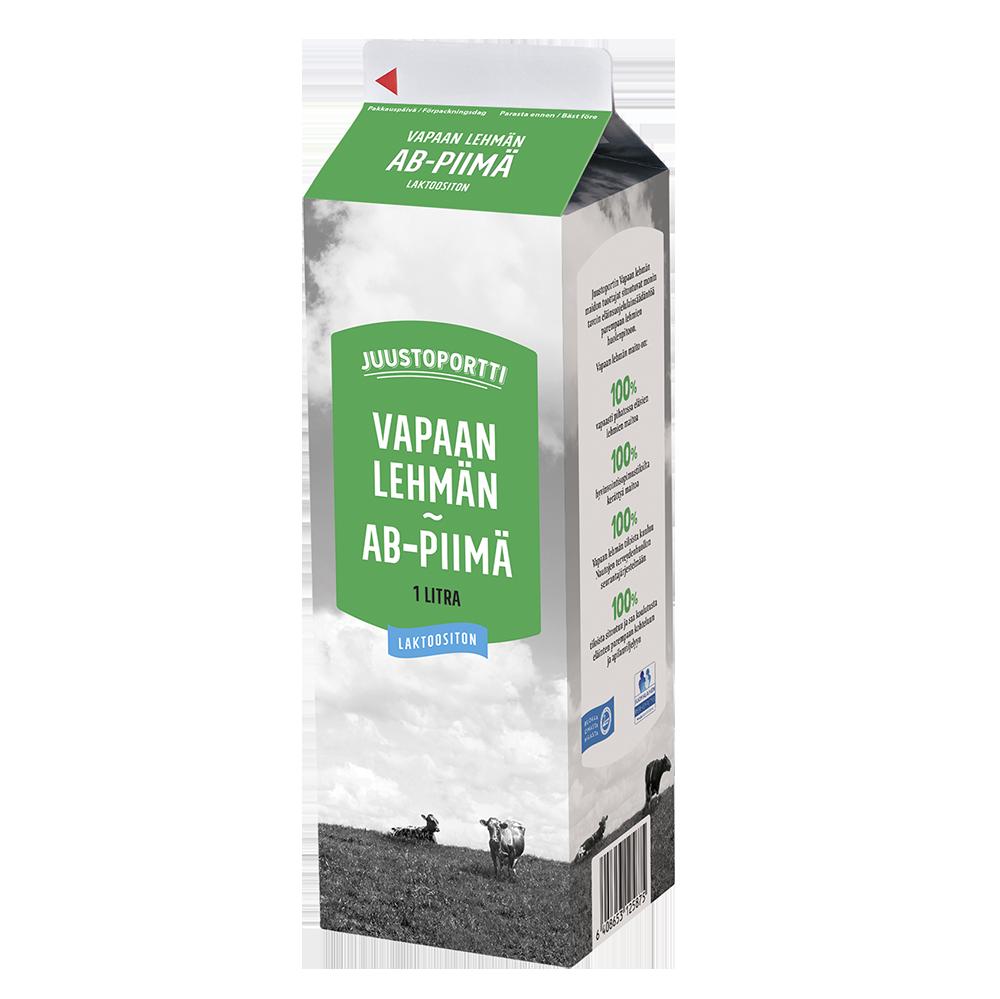 Juustoportti Vapaan lehmän AB-piimä 1 l laktoositon