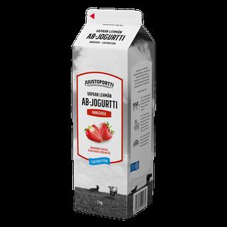 Juustoportti Vapaan lehmän AB-jogurtti 1 kg mansikka laktoositon