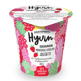 Juustoportti Hyvin sokeroimaton jogurtti 150 g mansikka-vadelma