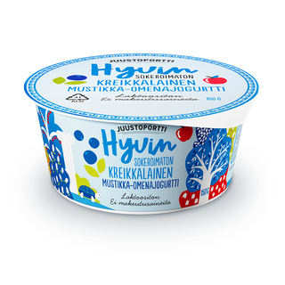 Juustoportti Hyvin sokeroimaton kreikkalainen jogurtti 150 g mustikka-omena