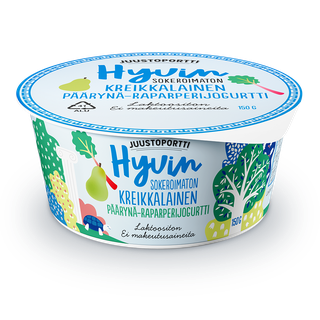 Juustoportti Hyvin sokeroimaton kreikkalainen jogurtti 150 g päärynä-raparperi