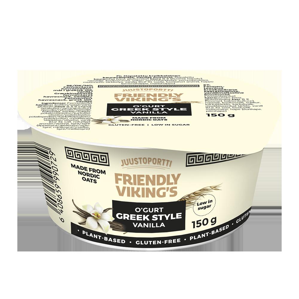 Juustoportti Friendly Viking's kreikkalainen kauravälipala vanilja 150 g
