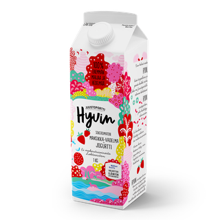 Juustoportti Hyvin sokeroimaton jogurtti 1 kg mansikka-vadelma