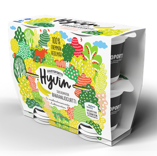 Juustoportti Hyvin sokeroimaton jogurtti 4*120 g banaani