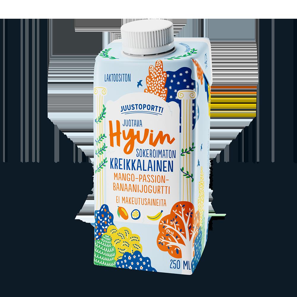 Juustoportti Hyvin sokeroimaton kreikkalainen juotava jogurtti 250 ml mango-passion-banaani