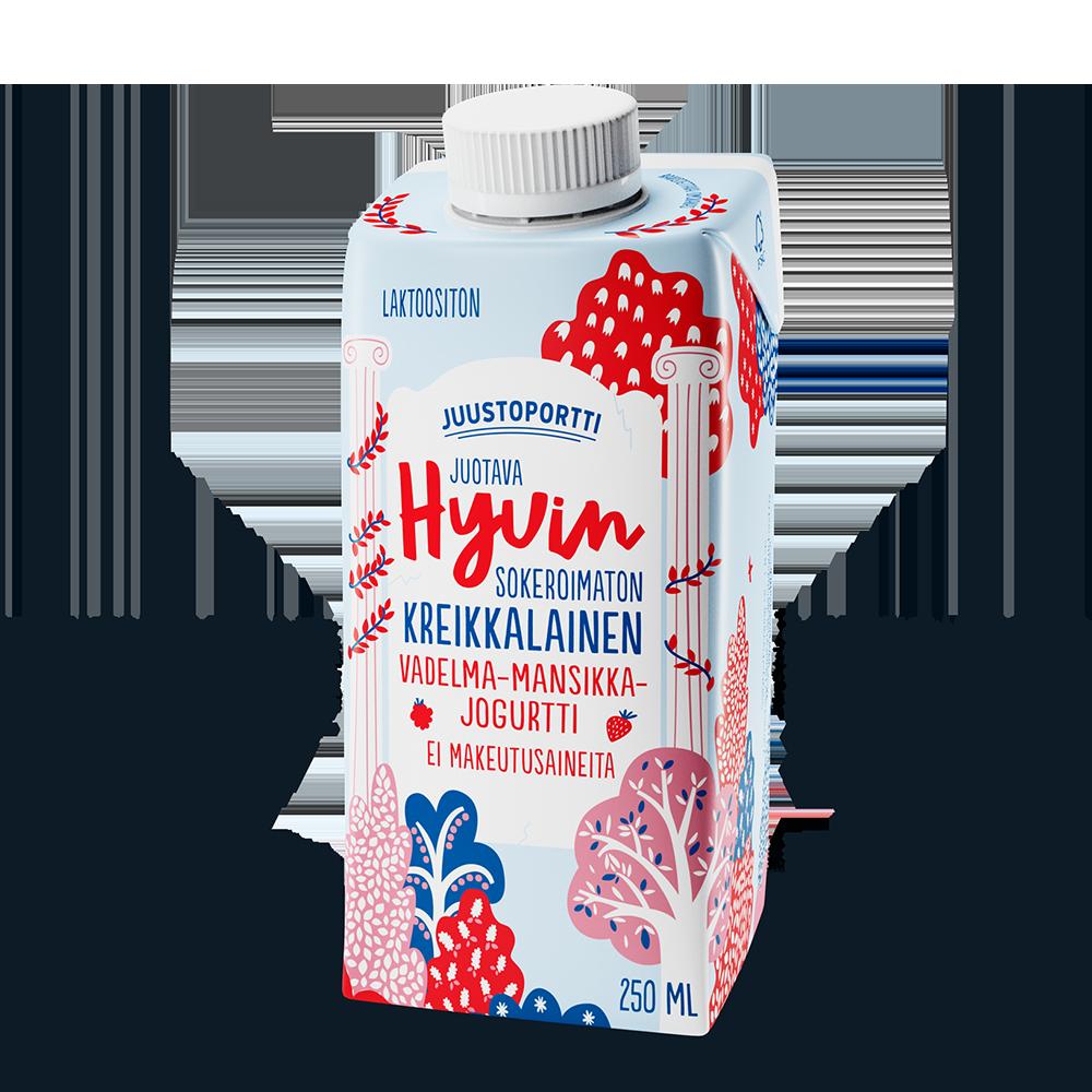 Juustoportti Hyvin sokeroimaton kreikkalainen juotava jogurtti 250 ml, vadelma-mansikka
