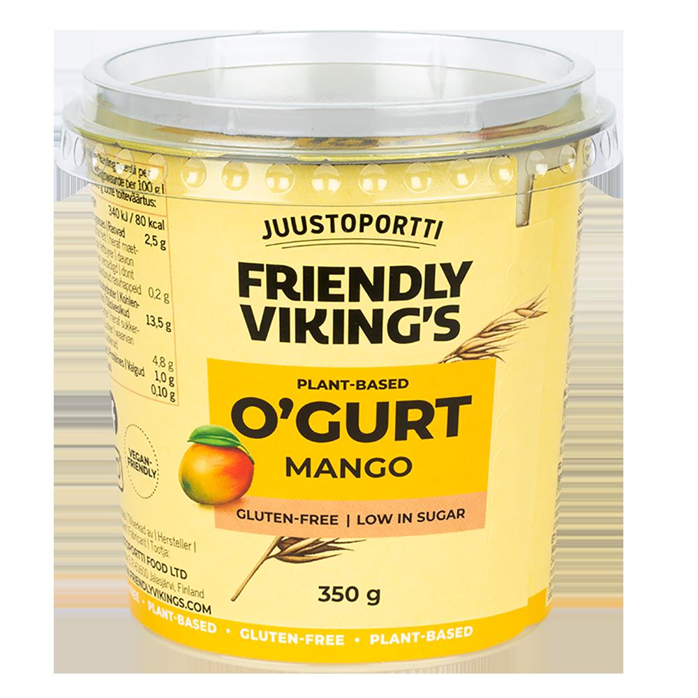 Juustoportti Friendly Viking's O'gurt hapatettu kauravälipala mango 350 g