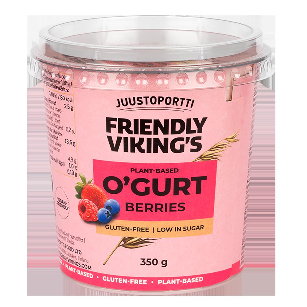 Juustoportti Friendly Viking's O'gurt hapatettu kauravälipala mansikka-mustikka-vadelma 350 g