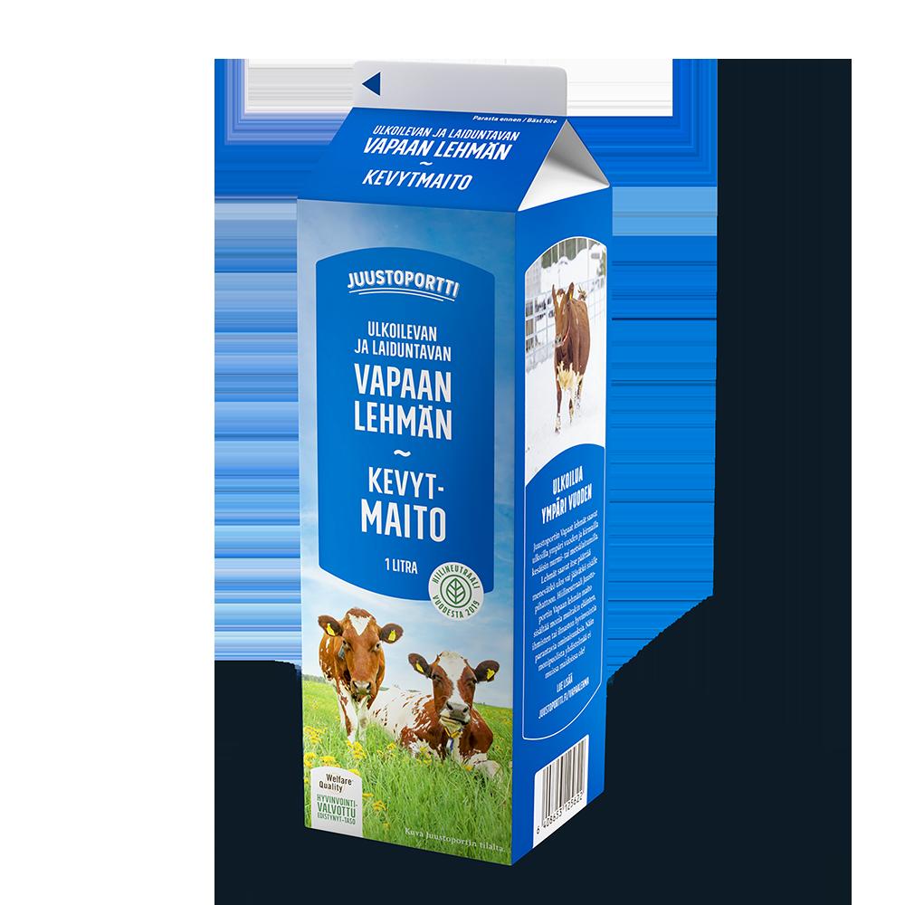 Juustoportti Vapaan lehmän kevytmaito 1 l
