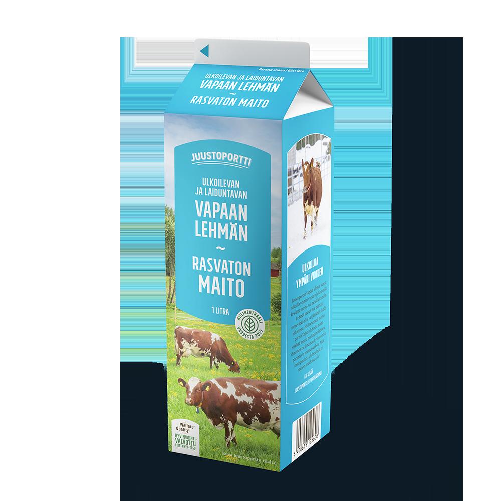 Juustoportti Vapaan lehmän rasvaton maito 1 l
